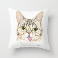 lil bub Throw Pillows featuring Lil Bub by ItsSabbyG