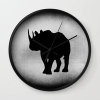 rhino Wall Clocks featuring Rhino by LoRo  Art & Pictures