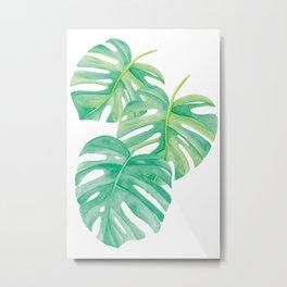 Monstera Tree Leaves Watercolor Art Metal Print
