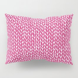 Hand Knit Hot Pink Pillow Sham