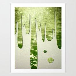 Glittery Green Ocean Dripping On Cream Textured Wall Art Print