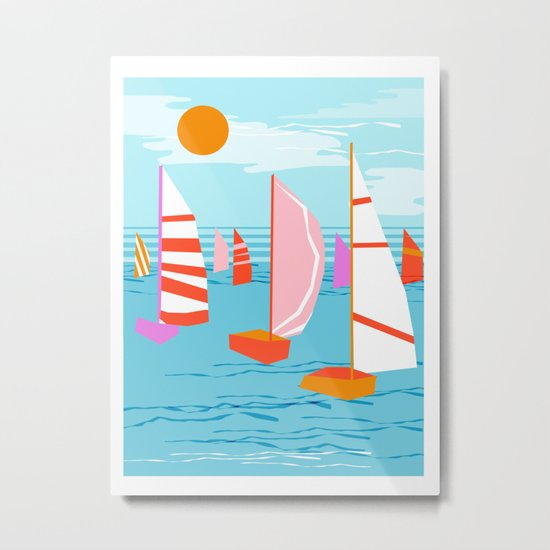 Quepasa - memphis throwback retro minimal modern neon boating yacht club sailing summer sport Metal Print