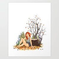 lydia martin Art Prints featuring Lydia Martin, Autumn by strangehats