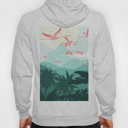 Flamingos flying through the Tropics Hoody