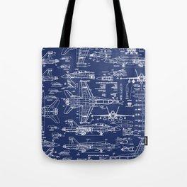 F-18 Blueprints Tote Bag