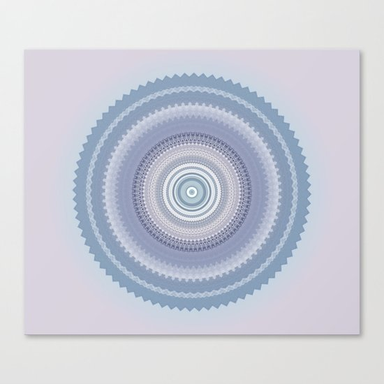 Inspirational Mandala in soft pastel colors of blue and lilac Canvas Print