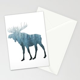 Misty Forest Moose Stationery Cards