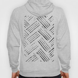 Black and White Abstract Brush Stroke Pattern Hoody