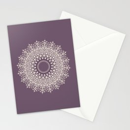 Mandala in Mulberry and White Stationery Cards