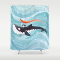 orca Shower Curtains featuring Grandpa Orca by Freeminds