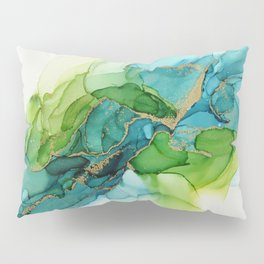 Green Blue Gold Abstract Ink Painting Pillow Sham