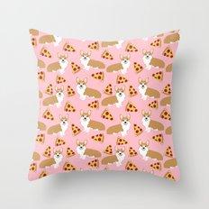 Welsh Corgi Pizza pattern funny dog art customized pet portrait children fur baby must have corgi  Throw Pillow