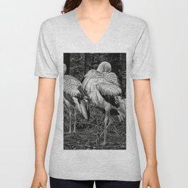Black And White Storks Unisex V-Neck