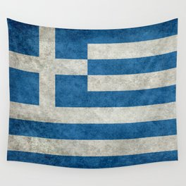 Flag of Greece, vintage retro style Wall Tapestry