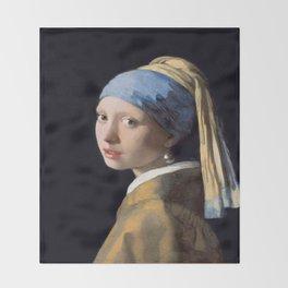 Vermeer, Girl with a Pearl Earring,Meisje met de parel,La joven de la perla Throw Blanket