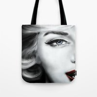 marilyn Tote Bags featuring Marilyn  by Lily Fitch