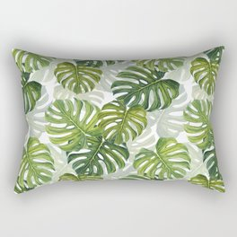 Tropical Monstera Leaf Pattern Rectangular Pillow