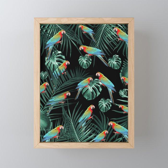 Parrots in the Tropical Jungle Night #2 #tropical #decor #art #society6 Framed Mini Art Print