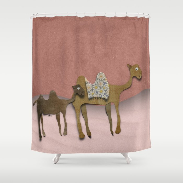 2 camels in a pink desert Shower Curtain