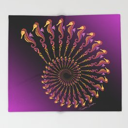 Seahorse Spiral Shell Throw Blanket