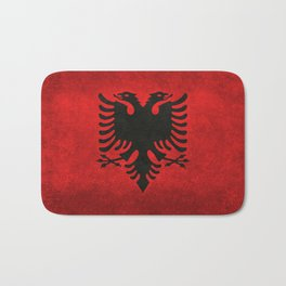 National flag of Albania with Vintage textures Bath Mat