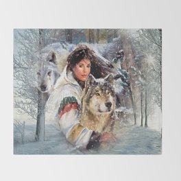 Mountain Woman With Wolfs Throw Blanket