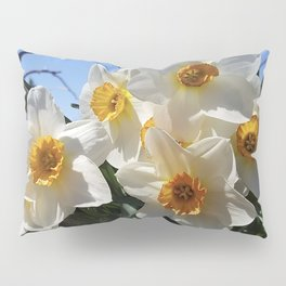 Sunny Faces of Spring - Gold and White Narcissus Flowers Pillow Sham
