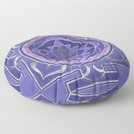 Sri Yantra  / Sri Chakra Purple and Silver Floor Pillow