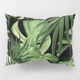 Tropical Jungle Night Leaves Pattern #5 #tropical #decor #art #society6 Pillow Sham