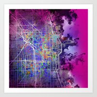 chicago map Art Prints featuring chicago by Bekim ART
