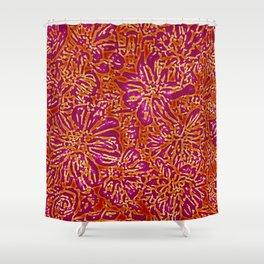 Marigold Lino Cut, Batik Red And Purple Shower Curtain