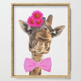 Giraffe funny animal illustration Serving Tray