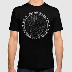 Me & Paranormal You - James Roper Design - Palmistry B&W (white lettering) Mens Fitted Tee 2X-LARGE Black