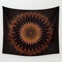 black and gold Wall Tapestries featuring Gold by Jane Lacey Smith