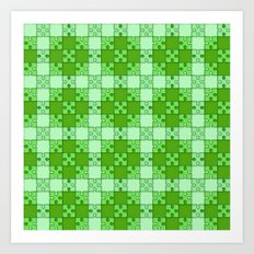 Puzzle Pattern,green Art Print