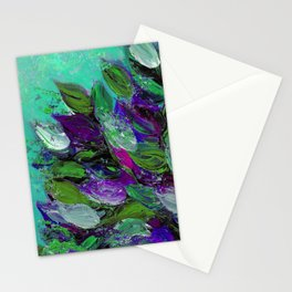 BLOOMING BEAUTIFUL 1 - Floral Painting Mint Green Seafoam Purple White Leaves Petals Summer Flowers Stationery Cards