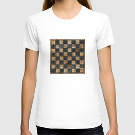 Chequered Past, Carved Wood Chess Board T-shirt
