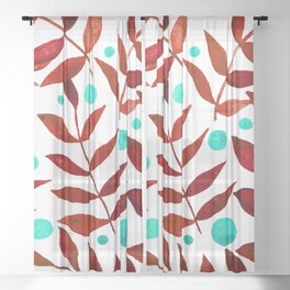 Watercolor berries and branches - red and turquoise Sheer Curtain