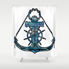 Anchor and Steering Helm [Multicolored 2] Shower Curtain