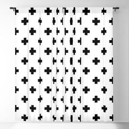 Black and White Swiss Cross Pattern Blackout Curtain
