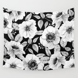 FLORAL GARDEN WATERCOLOR B/W Wall Tapestry