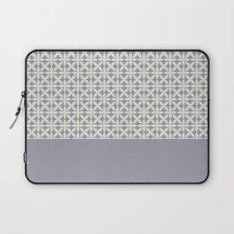 Pantone Cannoli Cream Square Petal Pattern on Pantone Lilac Gray Laptop Sleeve