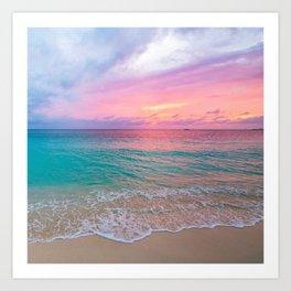 Aerial Photography Beautiful: Turquoise Sunset Relaxing, Peaceful, Coastal Seashore Art Print