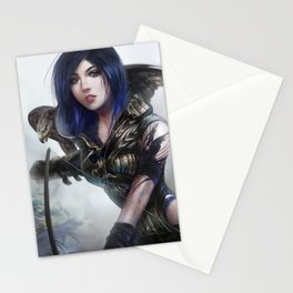 Carry on - Fantasy archer hunter girl with hawk bird Stationery Cards