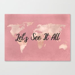 Lets See It All - Rosegold World Map Canvas Print