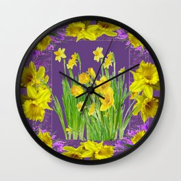 DAFFODIL SPRING GARDEN & PURPLE  DESIGN ART Wall Clock