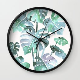 Delicate Monstera Blue And Green #society6 Wall Clock
