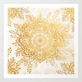 Queen Starring of Mandala-Gold Sunflower I Art Print