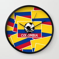 colombia Wall Clocks featuring Colombia Football by mailboxdisco