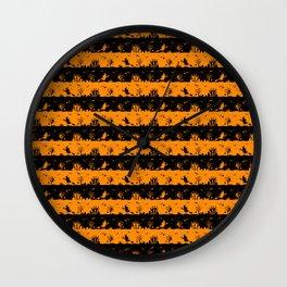 Light Pumpkin Orange and Black Halloween Nightmare Stripes Wall Clock